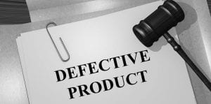 defective product written on paper with gavel